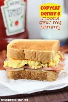 Copycat Denny's Moons Over My Hammy Breakfast Sandwich on eatcakefordinner.net