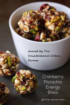 Cranberry Pistachio Energy Bites Prep Time: 15 minutes Yield: About 30 1-inch balls Kick up your energy with these simple and healthy no-bake Cranberry Pistachio Energy Bites!