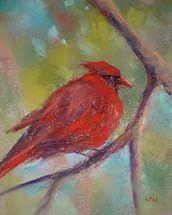 Original Pastel Painting Red Cardinal Bird.