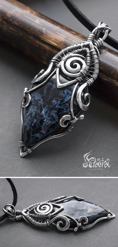 Pietersite silver wire wrap pendant