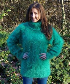 New Unique Hand Knitted Mohair Sweater Thick Pastel Blue Uni-size Jumper Fluffy Sweater, Mohair Sweater, Thick Sweaters, Sweaters For Women, Women's Sweaters, Cardigans, Gros Pull Mohair, Red T, Pastel Blue