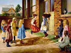 Jim Daly - Just Before the Bell - Search Gallery One for ART limited edition prints, giclee canvases and original paintings by internationally-known artists Art Ancien, Grafiti, Vintage School, Country Art, Norman Rockwell, Beautiful Paintings, American Artists, Kids Playing, Painting & Drawing