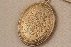 Large Gold Ornate Locket Necklace Vintage Style Brass by FreshyFig, $34.00