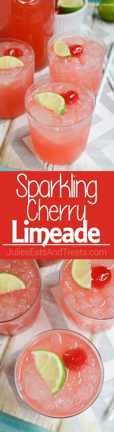 Sparkling Cherry Limeade Recipe ~ Just like Sonic's Famous Cherry Limeade! Now You Can Have it at Home with Only Four Ingredients!