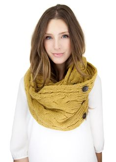 MUSTARD KNIT BUTTON knit scarf,  infinity scarf with faux button closure, mustard cable knit
