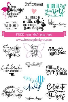 Free Quotes to inspire and make you laugh. Use as wall decals, on shirts, stationery and more. Free for personal use, commercial use also available. Cricut Fonts, Cricut Vinyl, Cricut Craft, Svg Files For Cricut, Cricut Tutorials, Cricut Ideas, Free Svg Cut Files, Cricut Creations, Free Quotes