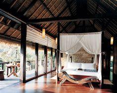 An open-air bedroom at Como Shambhala Estate. BALI- Indonesia