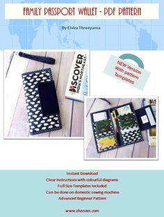 Family Passport Travel Holder PDF SEWING PATTERN, Hold 6 Passports, Instant Download, Family Passport Wallet Pattern