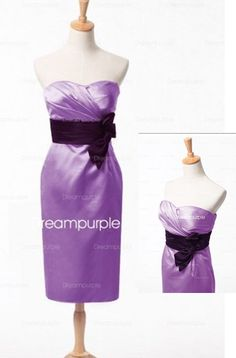 Satin Cocktail Length Bridesmaid Dress with Exquisite Sash #Purple #Bridesmaid