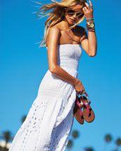 MICHAEL Michael Kors  Smocked Eyelet Maxi Dress & Stretch Bracelet With Pave Detail