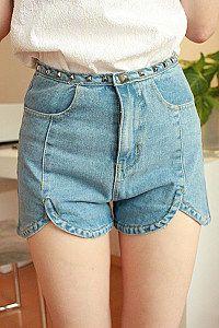 Mocca- latest split hem petal round rivet high waist denim shorts waist jeans