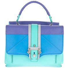 PAULA CADEMARTORI 'Faye' colour block satchel ($735) ❤ liked on Polyvore featuring bags, handbags, purses, bolsas, сумки, satchel handbags, handbag satchel, purse satchel, blue satchel and colorblock satchel