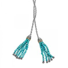 Turquoise gemstone tassel lariat necklace with 18k gold Caviar beaded accents. The necklace can be worn twisted, knotted or looped for added versatility.
