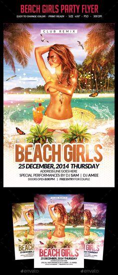 ▱ [Get Free]◛ Beach Girls Party Flyer Bar Club Dance Dance Flyer Disco Girl Thursday Specials, Free Beach, Club Parties, Party Flyer, Beach Girls, House Party, Flyer Template, Invitation Design, Night Club
