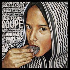 Jusque dans la soupe 2015 huile et collage sur toile 100 x 100 cm