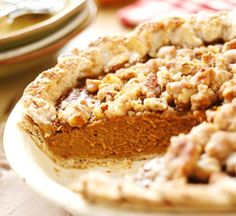Apple Butter Pumpkin Pie with Streusel Topping! Oh my word....if I had a jar of homemade apple butter this would sound even more appealing.