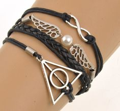 New Cool Harry Potter Pendent Black Rope Pulseras Mujer Chain Bracelet Men…