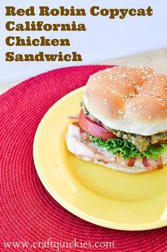 Copycat Recipe for the Red Robin California Chicken Sandwich.  So simple.  YUM!