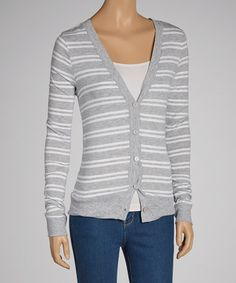 Take a look at this Gray & White Stripe Cardigan by Heart & Hips on #zulily today! 9.99