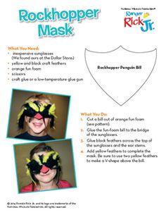 How to make a rockhopper penguin mask! Rockhopper Penguin, Penguin Animals, Animals Information, Animal Masks, Inspiring Art, Homework, Fun Activities, Penguins, Education