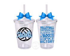 These personalized volleyball cups make great gifts for an athlete or the whole team!  This is a 16oz, BPA Free, double walled tumbler, perfect