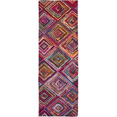 Make a statement in your master suite or enliven your entryway with this hand-hooked rug, featuring a concentric diamond pattern in magenta....
