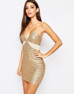 Allover Sequin Mini Dress with Cut Out Mesh Details by TFNC. Party dress by TFNC, Sequin embellished fabric, Deep plunge neckline, Cross over back straps, Cut-out mesh panels, Cl...