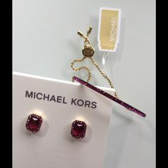 NWT MK Pink Pave bracelet and earrings Model MKJ4988710 gemstone with yellow gold  Adjustable chain bracelet  With matching earrings Michael Kors Jewelry Bracelets