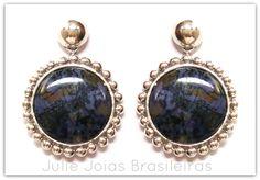 Brincos em prata 950 e pedra Tiffany (950 silver earrings with Tiffany stone)