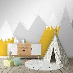 Best Indoor Garden Ideas for 2020 - Modern Baby Room Paintings, Room Wall Painting, Kids Room Paint, Living Room Murals, Kids Wall Murals, Mountain Nursery, Nursery Wallpaper, Baby Boy Rooms, Nursery Decor
