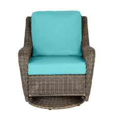 Hampton Bay Cambridge Gray Wicker Outdoor Patio Swivel Rocking Chair with CushionGuard Steel Blue Cushions - The Home Depot Navy Blue Cushions, Turquoise Cushions, Beige Cushions, Green Cushions, Outdoor Rocking Chairs, Outdoor Cushions, Porch Furniture, Outdoor Furniture, White Wicker