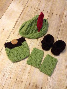 Crochet baby peter pan 4 peice set newborn by PinkPoppiesStudio