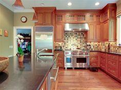 classic kitchen with orange wood shades