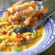 Linsesuppe med varme krydderier og stegt squash