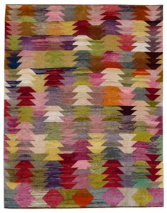 Loom Rugs 2377-Old-Yarn-Rug-Antique-zigzag