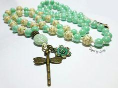 Charm- & Bettelketten - ☮ Bettelkette mit Libelle & Blume Patina…