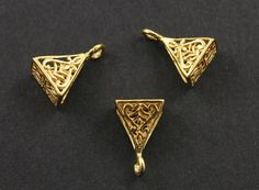 24K Gold Vermeil over Sterling Silver Oxidized Fancy by Beadspoint, $7.99