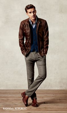 """An iconic rugged leather jacket is a fresh way to cool off brown tweed trousers."""