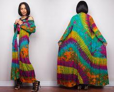 Boho Tie dye Kimono dress Hippie robe boho kimono robe Resort Wear long kimono robe Beige kimono Lounge wear long duster robe