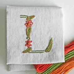 DIY pdf Crewel Embroidery Pattern Monogram L is by PrairieGarden, $5.00