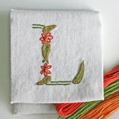 DIY pdf Crewel Embroidery Pattern Monogram L is for Love instant download tutorial on Etsy, $5.00