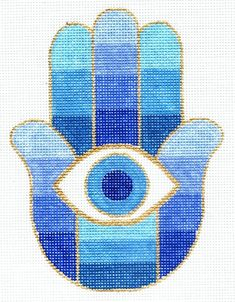 Spiritual needlepoint - Blue hamsa eye of protection, hand-painted, x on 13 mesh canvas, made in Sedona Arizona Needlepoint Designs, Needlepoint Stitches, Needlepoint Canvases, Needlepoint Belts, Needlepoint Christmas Stocking Kits, Needlepoint Stockings, Cross Stitch Designs, Cross Stitch Patterns, Cross Stitching