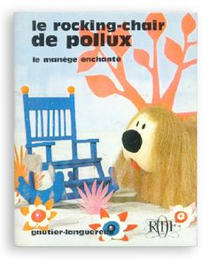"Le rocking-chair de Pollux Created by Ortf channel / Gautier-Languereau / 1967 / Soft-cover by saddle stitch, 8.5*10.5cm / The glue of seal is adhering on the front cover. ""Le Manège Enchanté"" is the doll animation that was created in France in 1963. We talk that this 3D film version will be released. (The characters in the film are less than great.) The dolls and art decoration are very pretty. Pollux and a snail; Ambroise find a rocking-chair but a rabbit; Flappy comes there and he takes…"