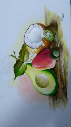 Cuadr Fruit Painting, Tole Painting, Fabric Painting, Watercolor Paintings For Beginners, Acrylic Painting Lessons, Art Drawings For Kids, Art Drawings Sketches, Fruit Picture, Cool Paintings