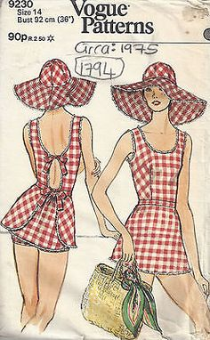 Details about the 1975 vintage VOGUE swimsuit with bib and hat Vogue Vintage, Vintage Fashion, Retro Fashion, Vogue Sewing Patterns, Simplicity Sewing Patterns, Vintage Sewing Patterns, Pattern Sewing, Sewing Ideas, Sewing Projects