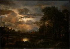 Moonlit Landscape with Bridge, Aert van der Neer, 1648-50
