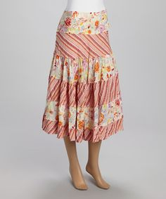 Love this Orange & White Patchwork Peasant Skirt by Papillon Imports on #zulily! #zulilyfinds