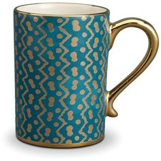 L'Objet Fortuny Tapa Teal Mug ($370) ❤ liked on Polyvore featuring home, kitchen & dining, drinkware, kitchen, mug and inspirational mugs