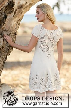 """Knitted DROPS dress with lace pattern and raglan in """"Muskat"""" or Drops Design, Knitting Designs, Knitting Patterns Free, Free Knitting, Knit Dress, Lace Dress, Crochet Pattern, Knit Crochet, Magazine Drops"""