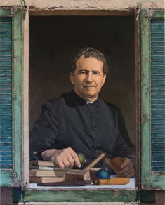 Spain – New painting of Don Bosco. Green shutter, a point of hope and trust in the future Jesus Photo, Painting Shutters, Green Shutters, Art Lessons, Trust, Spain, Old Things, Alicante, Abandoned